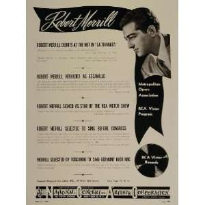 1947 Robert Merrill Opera RCA Victor Radio Booking Ad