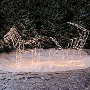 New 2 PC Lighted Horse & Carriage Christmas Yard