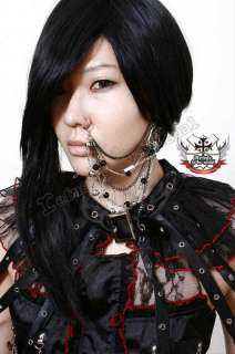 GOTHIC DOLL SAFETYPIN SKULL Earring+Nose Ring 6 CHAINS