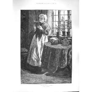 1884 END OF THE CHAPTER OLD LADY READING BOOK FINE ART