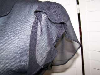 Milly New York Anthropologie Sheer Black Ruffled Sleeve Blouse Size 6