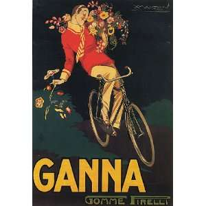 BIKE GANNA BOY FLOWERS ITALY ITALIAN VINTAGE POSTER CANVAS