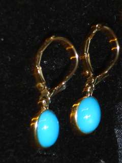 VINTAGE OVAL CABOCHON TURQUOISE EARRINGS ,14k YELLOW GOLD
