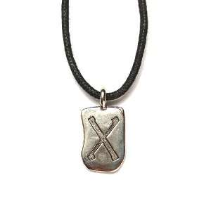 Rune Geba Pewter Pendant on Corded Necklace, Ancient Runes