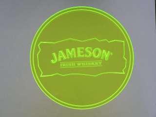 cc101 g Jameson Irish Whiskey Neon Green 3D Engraved Coasters Bar Beer