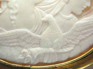 NATURAL CARVED SHELL CAMEO PIN BROOCH NIGHT & DAY EOS NYX c1850