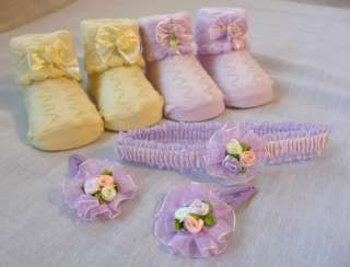 Baby Newborn Knit Bow Booties Socks Choose Set Boy Girl
