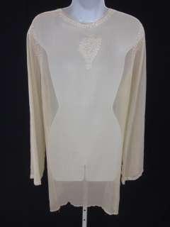 GLAM Beige Beaded Silk Long Sleeve Sheer Dress Sz M