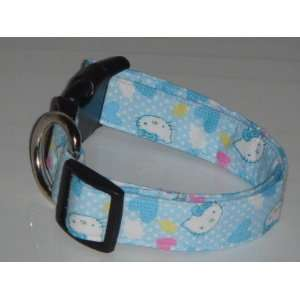 Hello Kitty Heart Blue Dog Collar Medium 1 Everything