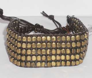 LUCKY BRAND GOLD TONE BEAD BRACELET WITH ADJUSTABLE BROWN CORDS,NWT
