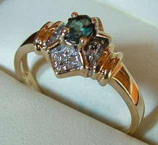 Brilliant .23CT Natural Alexandrite & Diamond Solid Gold Ring