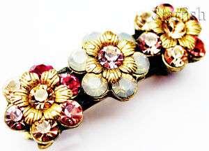 Michal Negrin w/ Swarovski Crystals Flowers Hair Clip