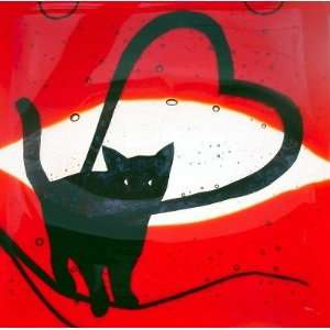 Cat with Heart Glass Suncatcher by Gail Coupal