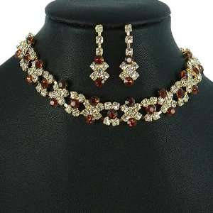 Gold and Dark Topaz Crystal Rhinestone Choker Necklace Set Jewelry