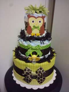 Green & Brown OWL 3 tier diaper cake baby shower decoration