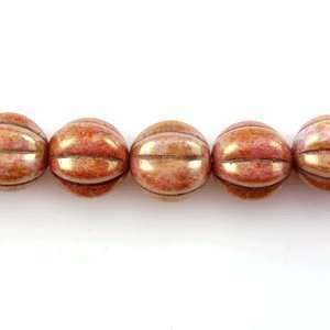 Pressed Melon Rounds 8mm Luster   Opaque Rose/Gold Topaz