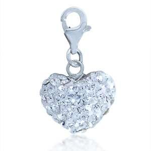 Nagara Crystal 925 Sterling Silver Heart Dangle Charm