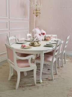 Cottage Chic White Oval Dining Table 1 Leaf French Style Roses