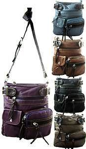 Washed Faux Leather Multi Pocket Crossbody Messenger Bag Purse Black