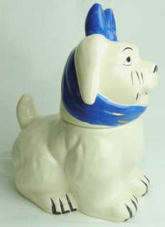 Muggsy The Dog with Blue Tie Ceramic Cookie Jar