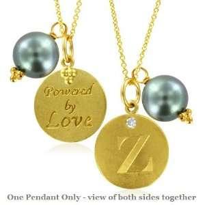 Natural Diamond Initial Z, LOVE LETTERS Pendant Pearl Charm in 18k