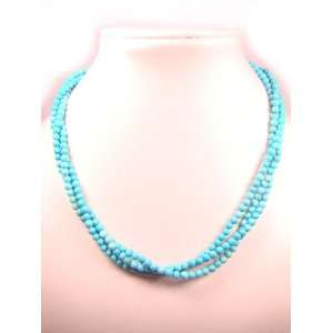 Layers Turquoise 4mm Round Natural Crystal Bead Necklace Jewelry