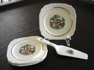 Early American Harker Dessert Plates w/Matching Server