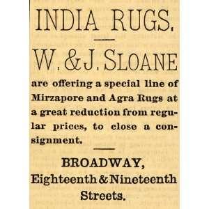 1882 Ad W. & J. Sloane Mirzapore Agra India Rugs Floor