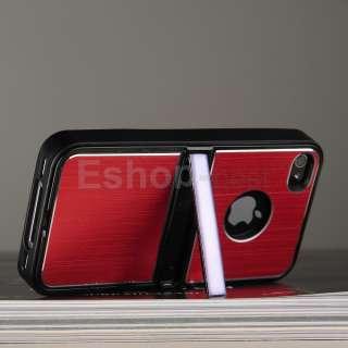 Red Aluminum TPU Hard Case Cover W/Chrome Stand+Free Pen&Film