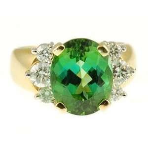 Namibian Beauty Dazzling Oval Large Green Tourmaline & Diamond ring
