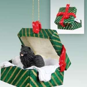 Black Pomeranian Christmas Ornament Hanging Gift Box