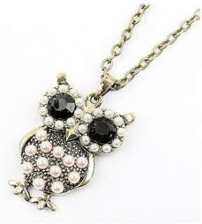 fashion Vintage style bronze pearl / crystal owl charm necklace x320