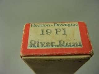 Vintage Antique Tackle Heddon Wood Glass Eye River Runt & Box Old
