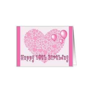 10th Birthday, Pink hearts, balloons & hearts Card Toys & Games