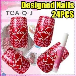24 x red love hearts False Nail Art Tips + Glue 222