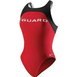 New Womens NIke 1 piece red/black life guard or athletic racing swim