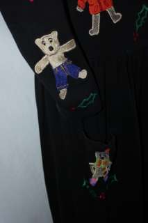 Michael Simon Lite Dress Embroidered Holiday Christmas Teddy Bears