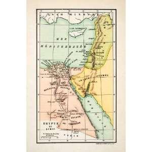 Middle East Mediterranean Sea Red Sea   Original Wood Engraving Home