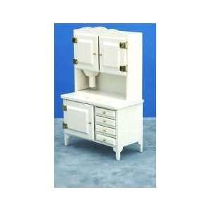 Dollhouse Miniature White Flour Bin Hutch