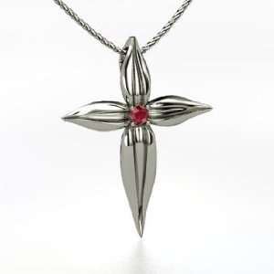 Leaf Cross, Round Ruby 14K White Gold Necklace Jewelry
