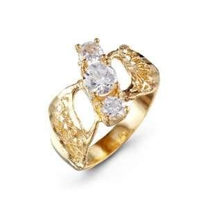 Triple Round White CZ 14k Yellow Gold Womens Band Ring