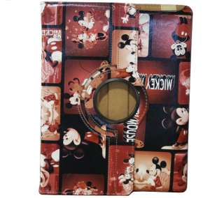 Stand Smart Leather case cover W/Swivel Mickey Mouse for iPad 2