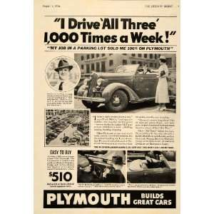 1936 Ad Plymouth Car Frank H. Mattix NYC Parking Lot