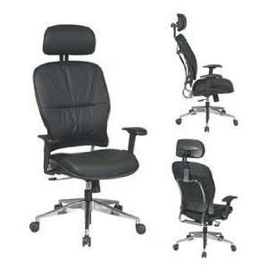 Black Leather Seat and Back Managers Chair With Adjustable