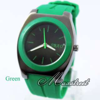 Casual Womens Mens Jelly Silicone Quartz Wrist Watch 9 Colors