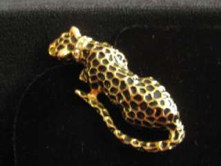 VTG GOLD TONE LEOPARD PIN BROOCH RHINESTONE COLLAR EYES