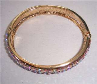 Signed Kirks Folly Pink Aurora Borealis Rhinestone Hinged Bangle