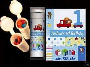 First Birthday party favors personalized candy tube boy