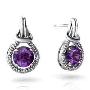 14K White Gold Round Genuine Amethyst Love Knot Earrings Jewelry