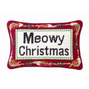 Cat Merry Christmas Wool Needlepoint Throw Pillow